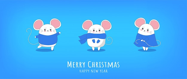 Happy new year 2020 chinese new year the year of the mouse Premium Vector