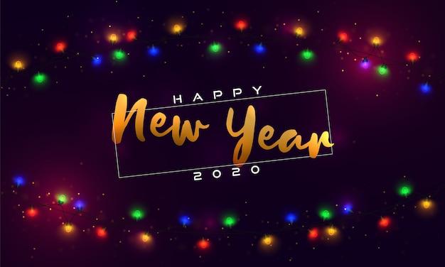 Happy new year 2020. christmas lights, bulbs, garland. Premium Vector