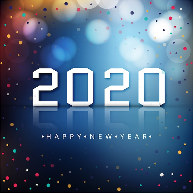 Happy new year 2020 colorful  celebration background Free Vector