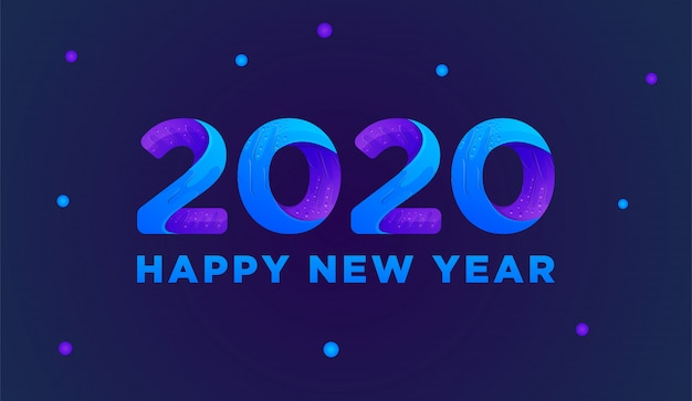 Happy new year 2020 colorful greeting card  vector Premium Vector