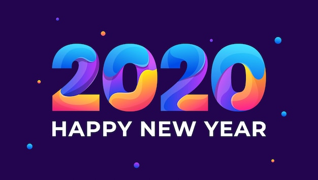 Happy new year 2020 colorful greeting card Premium Vector