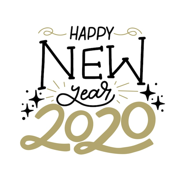 Happy new year 2020 concept with lettering Free Vector