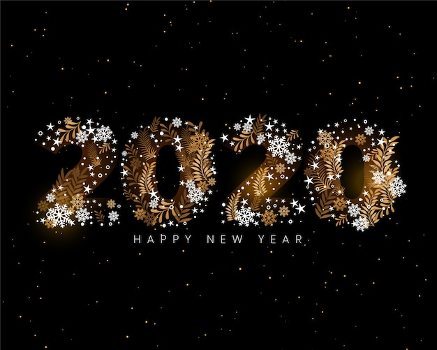 Happy new year 2020 creative decorative wallpaper Free Vector