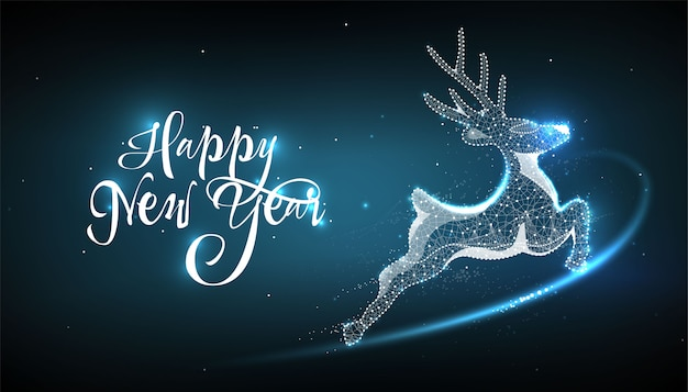 Happy new year 2020. deer in style low poly wireframe Premium Vector