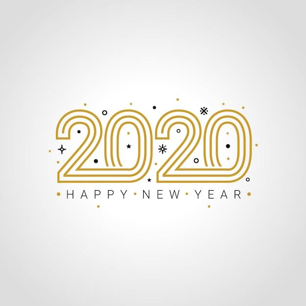 Happy new year 2020 elegant greeting card Premium Vector