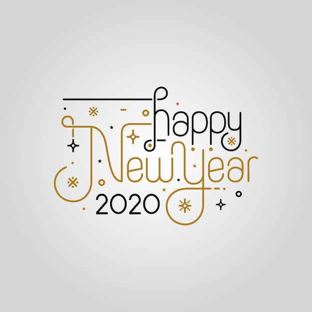 Happy New Year 2020 Elegant Greeting Card Vector Premium