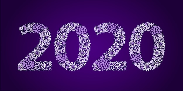 Happy new year 2020. ethnic flower ornament. ukrainian traditional style. Premium Vector