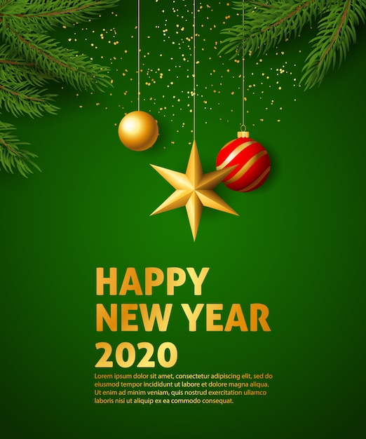 Happy new year 2020 festive banner Free Vector