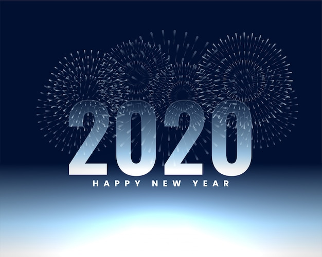 Happy new year 2020 firework banner background Free Vector