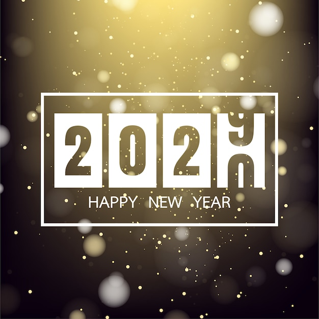 Happy new year 2020 on gold background for celebration Premium Vector