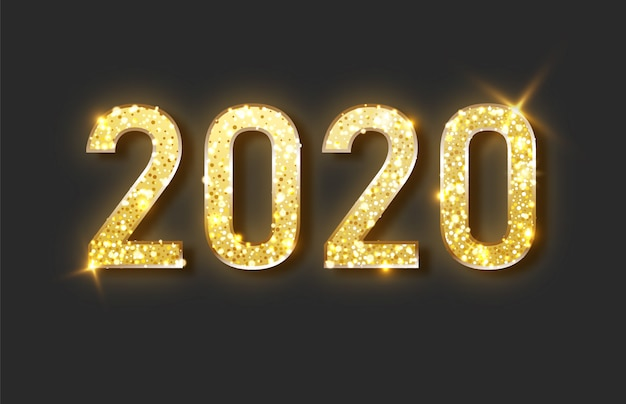 Happy new year 2020. gold festive numbers design. Premium Vector