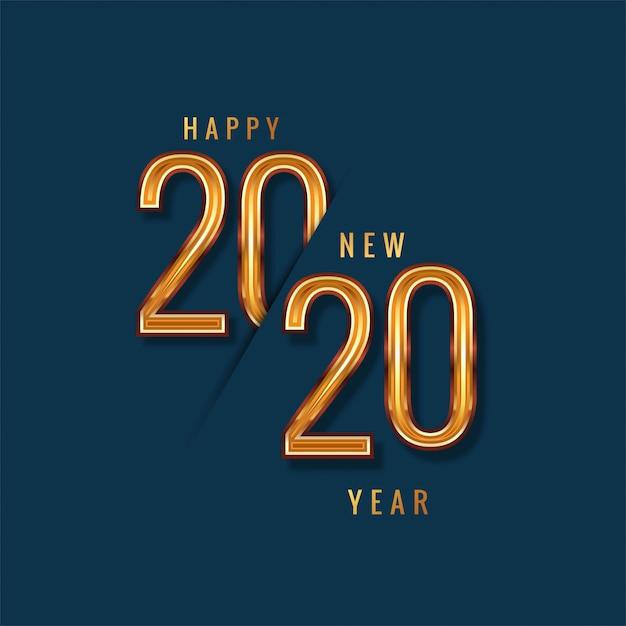 新年あけましておめでとうございます2020ゴールドテキストベクトル 無料ベクター