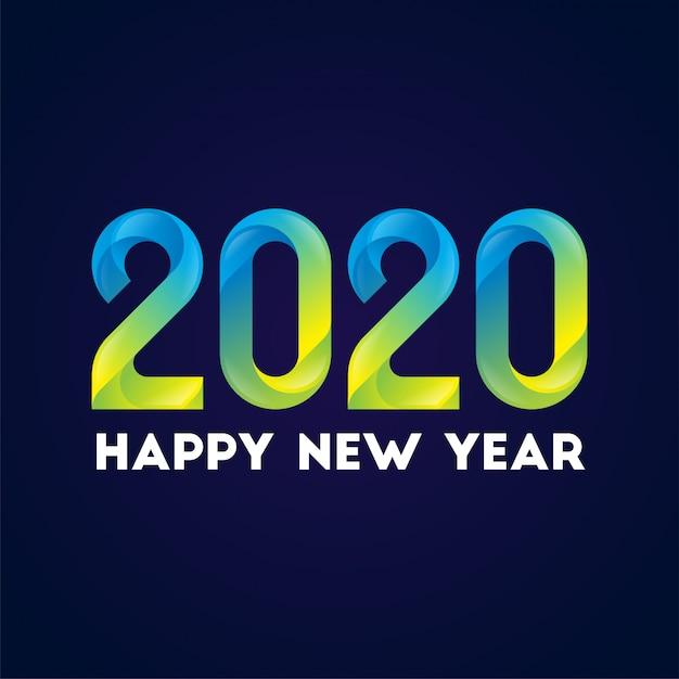 新年あけましておめでとうございます2020グラデーションスタイルの背景 Premiumベクター