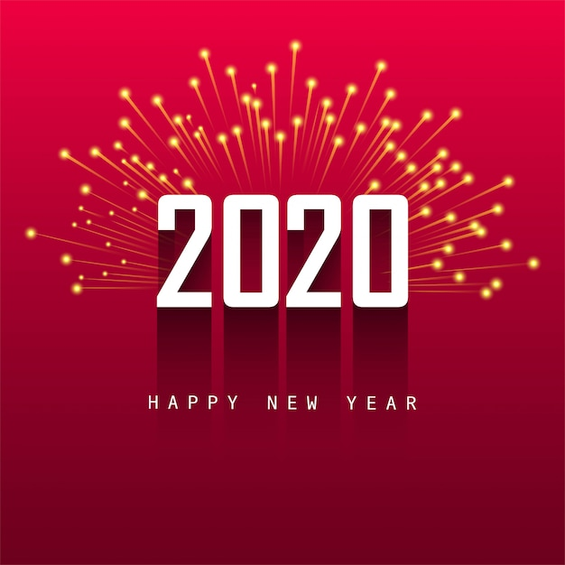 Happy New Year 2020 Greeting Card Design Vector Free Download