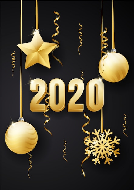 Happy new year 2020 greeting card design Vector | Premium ...