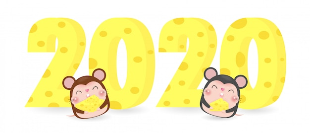 Happy new year 2020 greeting card with cute mouse and cheese Premium Vector