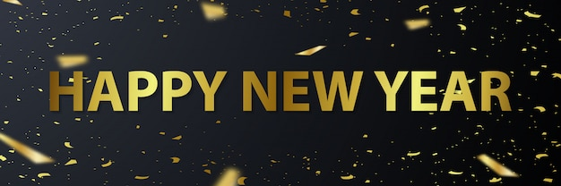 Happy new year 2020 greeting card with golden font illustration Premium Vector