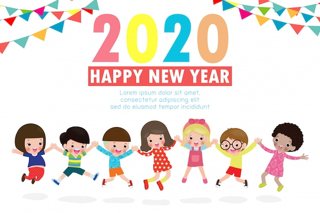 Happy new year 2020 greeting card with group kids jumping Premium Vector