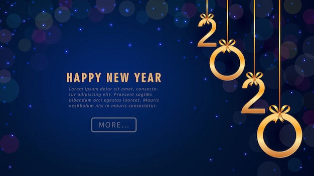 Happy new year 2020 greeting card with hanging golden ...