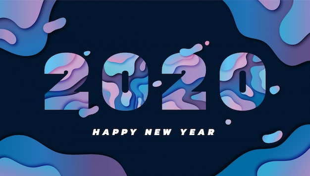 Happy new year 2020 greeting card with papercut style Premium Vector