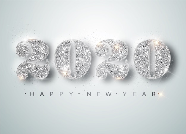 Happy new year 2020 greeting card with silver numbers and confetti frame on white . merry christmas flyer or poster Premium Vector