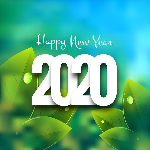 carte de voeux gratuites 2020 Happy new year 2020 greeting card | Free Vector