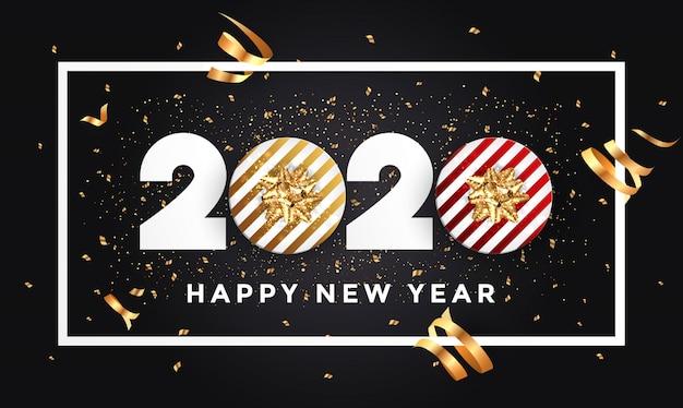 Happy new year 2020 greeting card Premium Vector