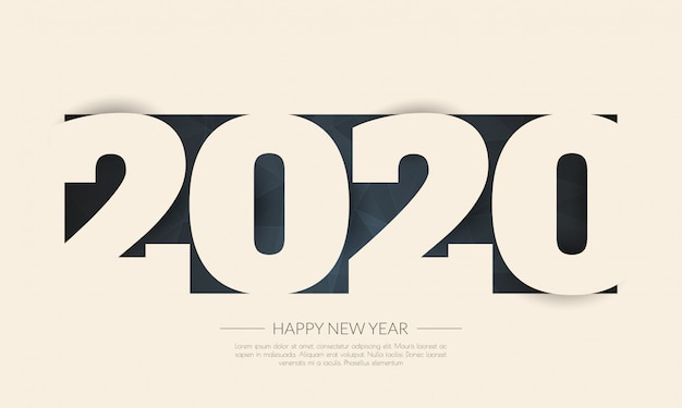 Happy new year 2020 . greetings card. abstract Premium Vector