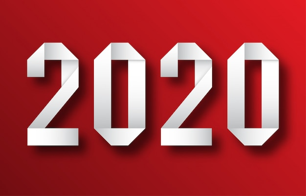 Happy new year 2020 greetings card Premium Vector