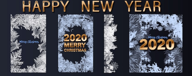New 1040 For 2020.Happy New Year 2020 Greetings And Merry Christmas Set Of