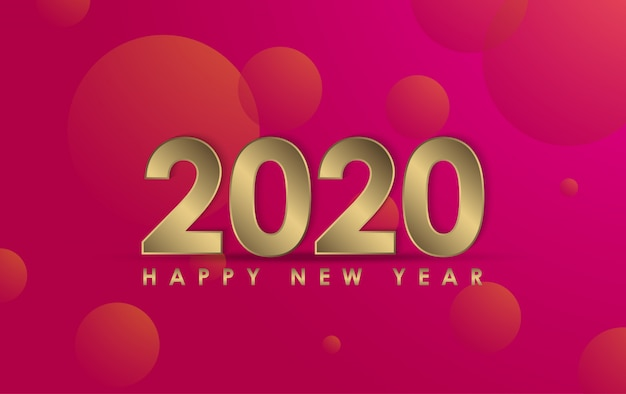 Happy new year 2020 illustration Premium Vector