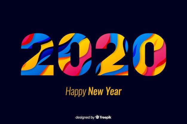 カラフルな色合いの新年あけましておめでとうございます2020 無料ベクター