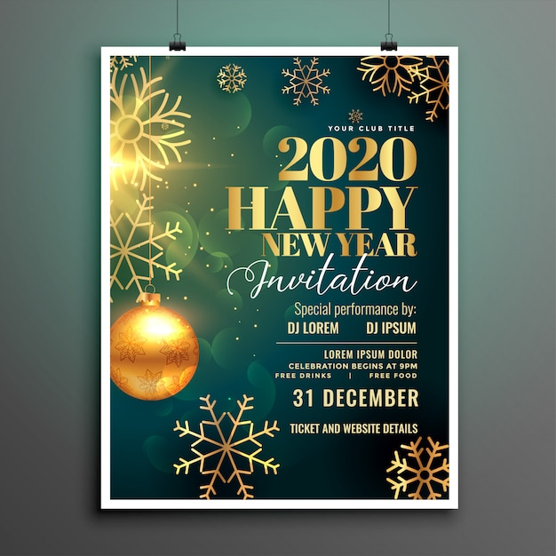 Happy new year 2020 invitation flyer template Free Vector