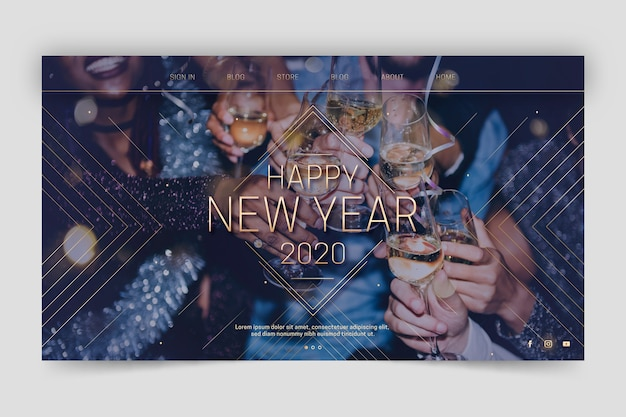 Happy new year 2020 landing page template Free Vector