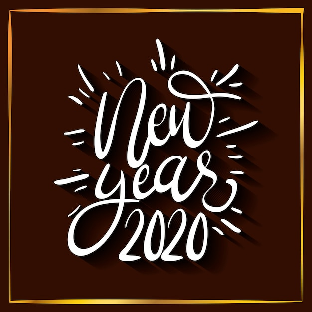 Happy new year 2020 lettering celebration Free Vector