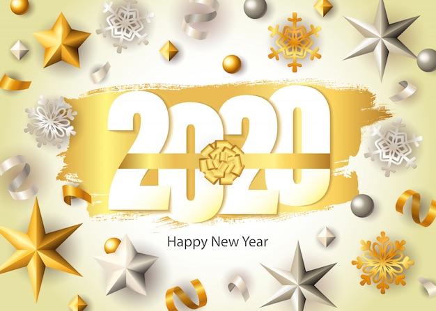 새해 복 많이 받으세요, 2020 글자, 황금 눈송이와 별 무료 벡터