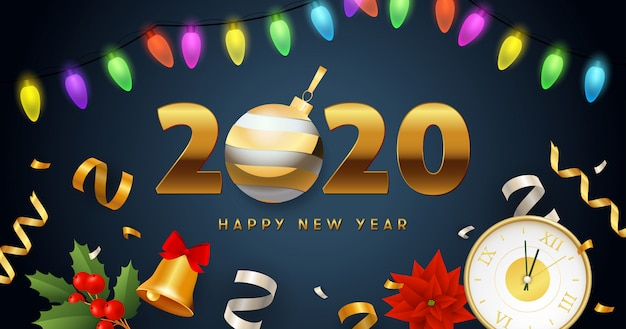 Happy new year 2020 lettering with lights garland, clock, bell Free Vector