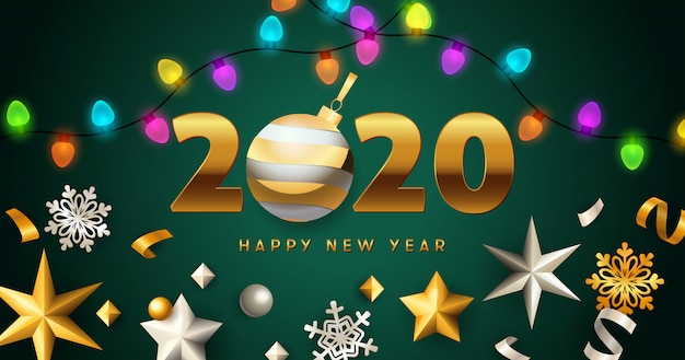 Happy new year 2020 lettering with lights garlands, stars Free Vector
