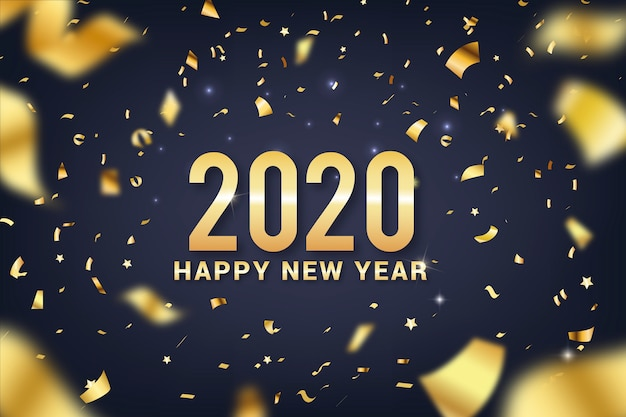 Happy new year 2020 lettering  with realistic decoration background Free Vector