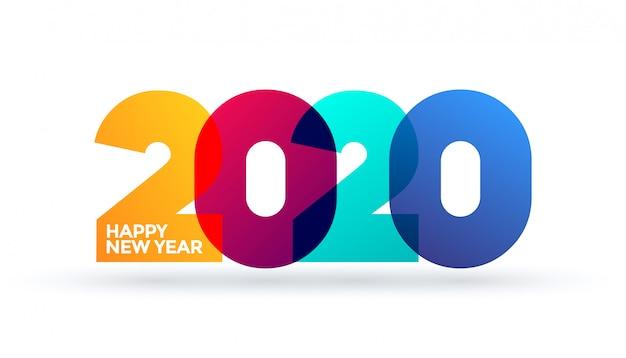 新年あけましておめでとうございます2020ロゴテキストデザイン。デザインテンプレート、カード、バナー、チラシ、web、ポスター。白い背景のグラデーションの鮮やかなカラフルな光沢のある色。 Premiumベクター