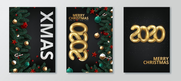happy new year 2020 and merry christmas greeting card vector premium download