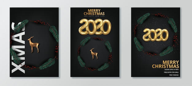 Happy new year 2020 and merry christmas greeting card set Premium Vector