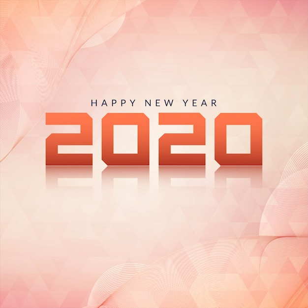 Happy new year 2020 modern background Free Vector