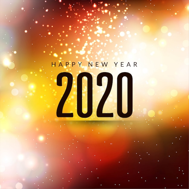 Happy new year 2020 modern sparkle background Free Vector
