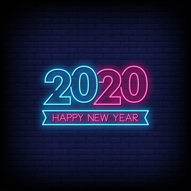 Happy new year 2020 neon signs style text Premium Vector