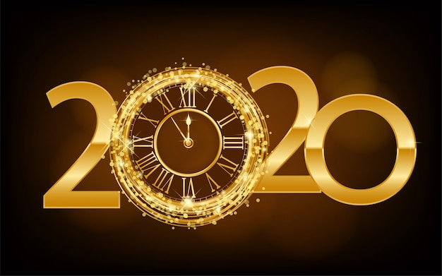 Happy new year 2020 - new year shining background with gold clock and glitter Premium Vector
