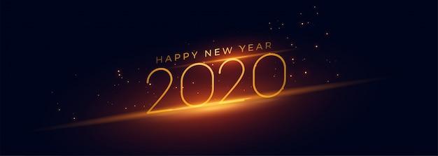 Happy new year 2020 panoramic banner Free Vector