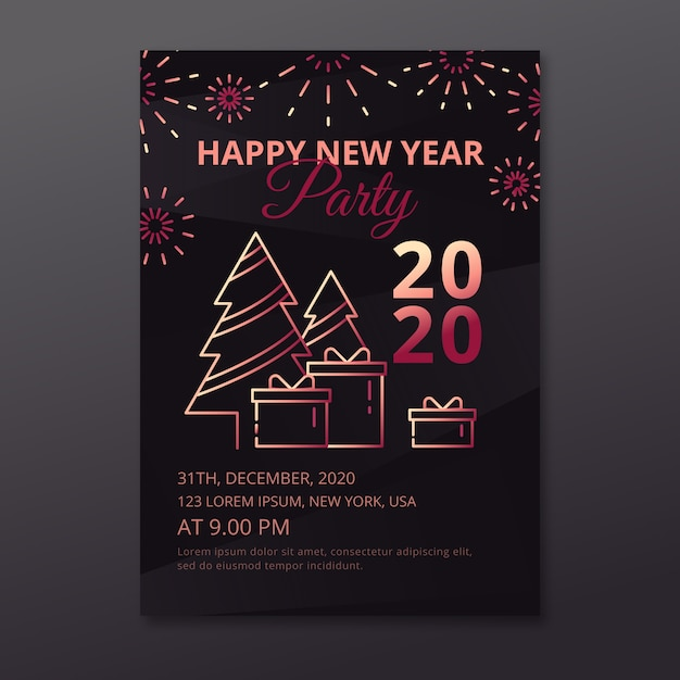 Happy new year 2020 party poster with trees Free Vector