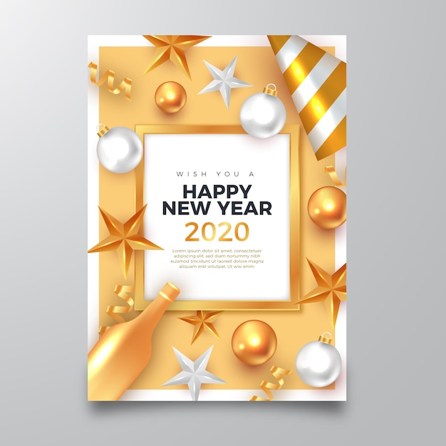 Happy new year 2020 poster with realistic golden ...