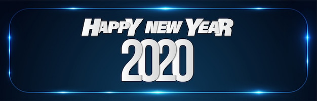 Happy new year 2020 promotion sales banner background Premium Vector